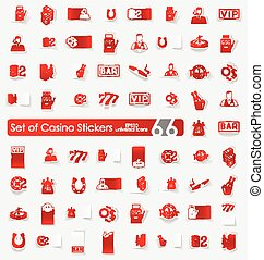 Set of casino stickers