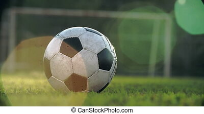 Kicking a Football - Low section of unrecognizable soccer...