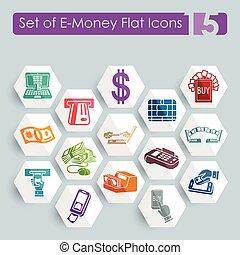 Set of e-money icons - Set of e-money flat icons for Web and...