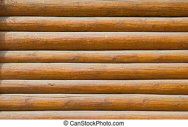 log walls - pine log wall of the house