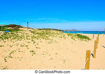 beach entrance in Porto Pollo, Sardinia