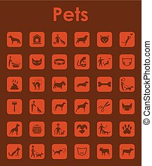 Set of pets simple icons - It is a set of pets simple web...