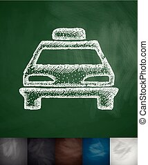 taxi icon Hand drawn vector illustration Chalkboard Design