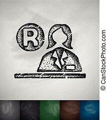 reception icon Hand drawn vector illustration Chalkboard...