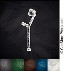 crutch icon Hand drawn vector illustration Chalkboard Design...