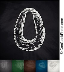 urinal icon. Hand drawn vector illustration. Chalkboard...
