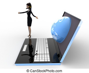 3d woman prsent earth on laptop screen concept on white...