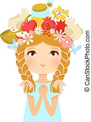 Rosh Hashanah girl - girl%u2019s head decorated with symbols...