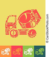 Cement Mixer icon - illustration of the Cement Mixer with...