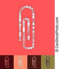paper clip icon - illustration of the paper clip with icons...