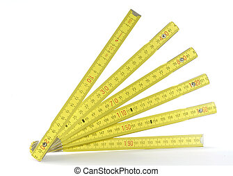 yellow folding measuring stick - A yellow folding measuring...