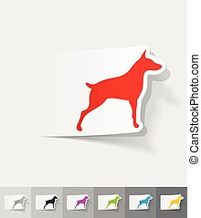 realistic design element. doberman - doberman paper sticker...