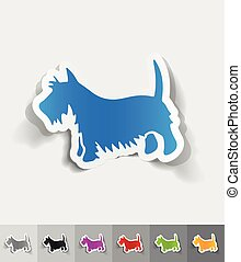 realistic design element scottish terrier - scottish terrier...