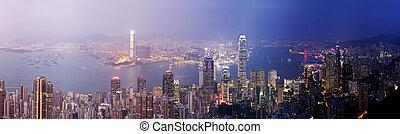 Hong Kong from day to night - Panoramic view of Hong Kong...