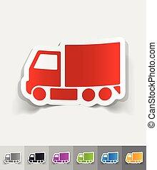 realistic design element delivery van - delivery van paper...