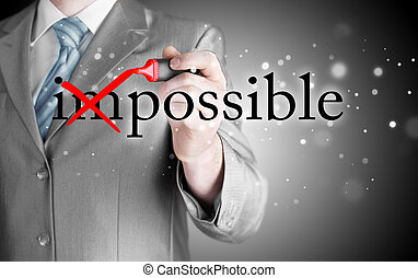 Businessman Hand turning the word Impossible into Possible...