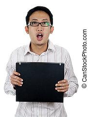 Shocked. - Man being shocked about something.