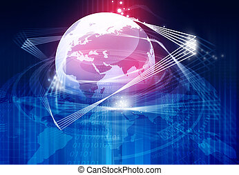 Earth with fiber optic, global communication concept