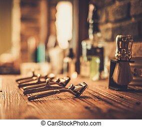 viruta, accesorios, en, Un, peluquero, Tienda,