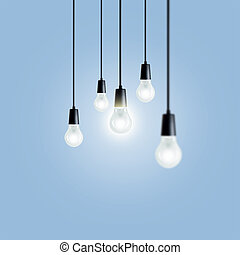 Idea concept. Light bulbs on blue background.