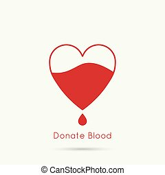 logotype blood donation, help the sick and needy Heart with...