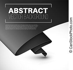Vector abstract background with folded black paper and place...