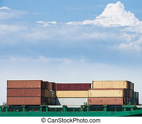 Containers loaded on a cargo ship