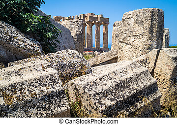 Temple E at Selinunte in Sicily and Ruins