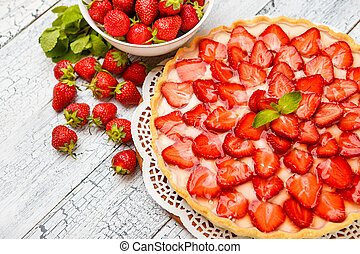 Homemade Strawberry cake - Traditional homemade strawberry...