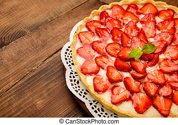Homemade Strawberry cake - Traditional homemade strawberry...