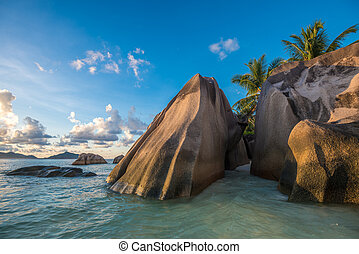 Tropical island beach, Source drsquo;argent, La Digue,...