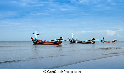 Fishing boats on the Quiet sea, Thailand.