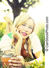 Oktoberfest model - Blond girl with mass at Oktoberfest in...
