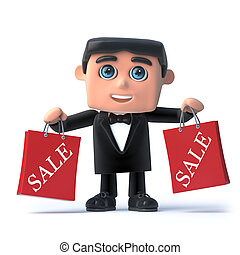 3d Bow tie spy has been to the sales shopping - 3d render of...