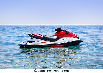 jet ski  - Red jet ski in the sea