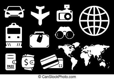 set travel white icon - set of travel white icon on black...