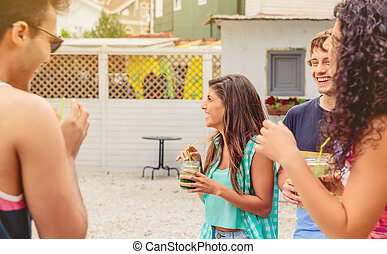 Group of young people having fun in summer party - Group of...