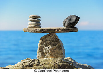Harmonious balance - Well-balanced of pebbles on the top of...