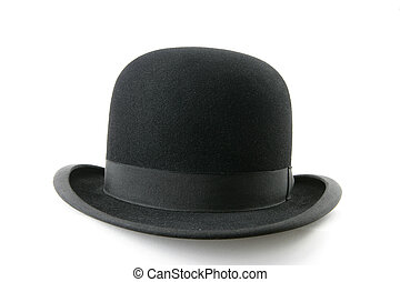 black bowler hat - A stylish black bowler hat - isolated on...