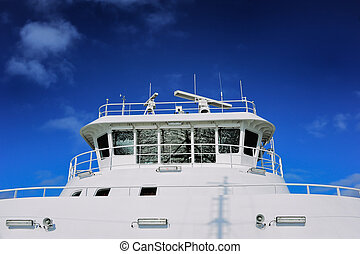 Luxury yacht - White yacht under deep blue sky