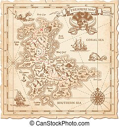 Hi detail Vector Treasure Map - A Hi detail, grunge Vector...
