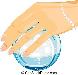 Crystal ball in a female hand. Vector illustration
