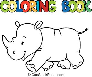 Coloring book of little rhino - Coloring book or coloring...