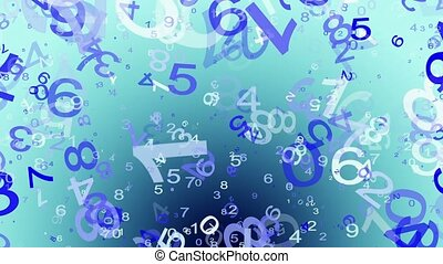 Abstract,flying numbers in blue