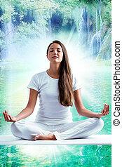 女, 瞑想する, 若い, 湖, 魅力的, 白