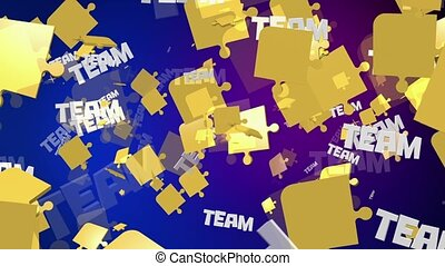 Abstract puzzle pieces in yellow with message Team