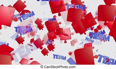 Abstract puzzle pieces in red with message Team