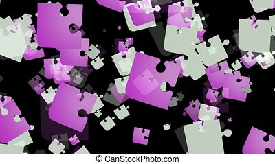 Abstract puzzle pieces in white and purple