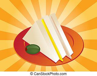 Club Sandwich - Ham and cheese club sandwich illustration,...