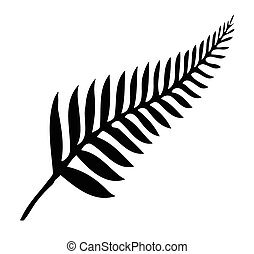Silver Fern of New Zealand - Silhouette of a silver fern, a...